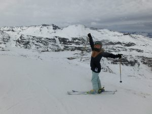 Hannah skiing in Chile